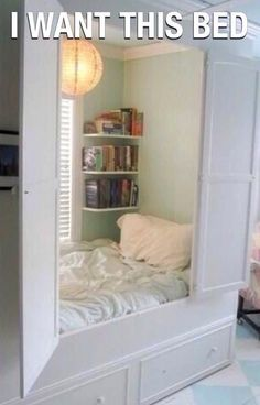 imagine this bed with no window and no book shelves- darkness heaven.