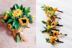 Love - wonder if you could do the red/orange tinted sunflowers to fit the wedding better?