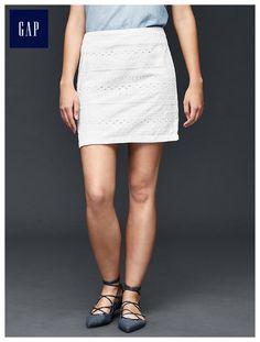 Eyelet row mini skirt
