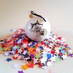Boule de Noël Renard Polaire en verre décorée à la main Noir