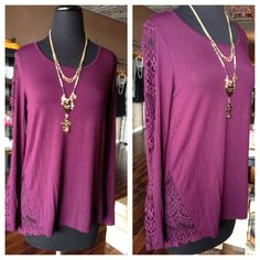 SZ: S-XL $68  FEMININE super soft PLUM long sleeve lace top! LOOKS gorgeous on! Very flattering!!