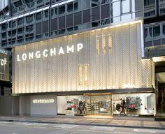 Photos and Videos 1 of 11 from project Longchamp Maison Canton Road Hong Kong Longchamp, Retail Interior Design, Boutique Interior, Shop Front Design, Store Design, Area Comercial, Vitrine Design, Retail Facade, Retail Architecture