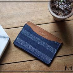 THE HILL-SIDE indigo covert stripe card case. Les accessoires inspirés du vêtement de travail fabriqués à Brooklyn / The workwear inspired accessories made in Brooklyn. 1d1fa