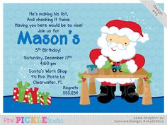 Santa Shop Personalized Party Invitation-personalized invitation, photo card, photo invitation, digital, party invitation, birthday, shower, announcement, printable, print, diy, christmas, holiday, toys