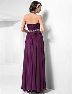 Formal Evening/Prom/Military Ball Dress - Grape Plus Sizes Sheath/Column Halter/Sweetheart Floor-length Chiffon – GBP £ 72.99