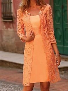 A-Line Mother of the Bride Dress Elegant Jewel Neck Knee Length Chiffon Lace Long Sleeve with Lace 2020 2021 - £ 129.37 Mother Of The Bride Dresses Vintage, Mother Of Bride Outfits, Mother Of Groom Dresses, Mob Dresses, Dresses Online, Couture Dresses, Fashion Dresses, Vestidos Mob, Lace Dress