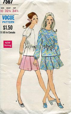 FREE US SHIP Vogue Sewing Pattern 7567 Vintage Retro 1960s 60s Top Skirt 32.5 ff Size 10 Uncut by LanetzLivingPatterns on Etsy