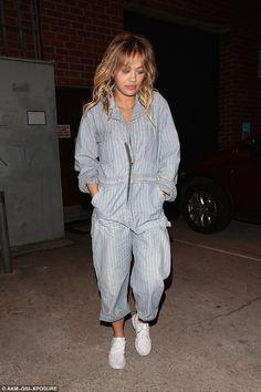 Getting to werk! Rita Ora looked casually cool in a mechanic-inspired denim boilersuit as ...