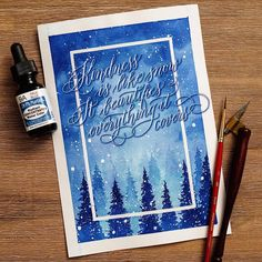 @lililettering Kindness is like snow, it beautifies everything it covers - snowy calligraphy or lettering quote for the winter