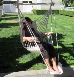 Beige Polycotton Padded Hammock Chair Swing U0026 Foot Rest