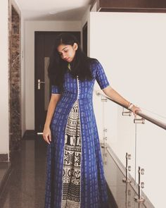 Blue ikkat cotton floor length cape with printed black and white palazzo Floor Length Dresses, Kurta Designs, Printed Sarees, Girl Fashion, Womens Fashion, Indian Wear, Frocks, Designer Dresses, Clothes For Women