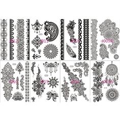 Miss Flora Non-toxi Black Henna Bracelets Laces Patterns Tattoos Women Tattoos Hands, Necks, Shoulder Body Paints Girl Stickers- Teen Makeup Kit, Skin Art (Tatoo Pack - Mixed 5 Random Sheets) -- Find out more about the great product at the image link. (This is an affiliate link) #Makeup