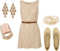"""""""Nude Lace Dress"""" by alyssakrause on Polyvore"""