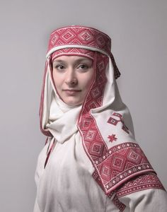 Eastern Europe | Portrait of a woman wearing a traditional headscarf, Belarus #embroidery #turban