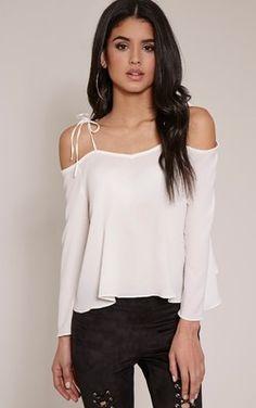 Mel Cream Cold Shoulder Bell Sleeve Blouse