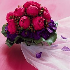 Fuschia Peony and Purple Orchid Bouquet