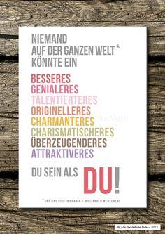 Wanddeko - Druck/Wandbild/Print: DU bist etwas Besonderes! - ein Designerstück von DiePersoenlicheNote bei DaWanda