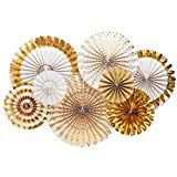 Metallic Gold Party Fans - White and Gold Party Fans - Paper Rosettes - Gold Paper Fan Backdrop - Photo shoot - Gold Party Fans - Pack of 8 Party Kulissen, Fancy Party, Craft Party, Sleepover Party, Work Party, Party Shop, Great Gatsby Themed Party, Gatsby Party, Gold Foil Paper