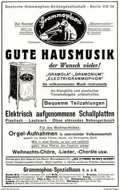 Werbung - Original-Werbung/ Anzeige 1926 - ELECTRIGRAMMOPHON / DEUTSCHE GRAMMPHON - ca. 140 x 220 mm