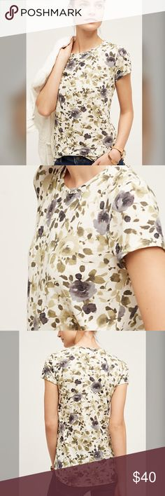 "Anthropologie floral print tee Anthropologie top. NWT. White/cream with green gray floral leaf print. Polyester, cotton, rayon. Rounded hem. length 27"". Anthropologie Tops Tees - Short Sleeve"