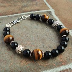 Black and Brown Gemstone Bead Bracelet for Men by mamisgemstudio, $64.95