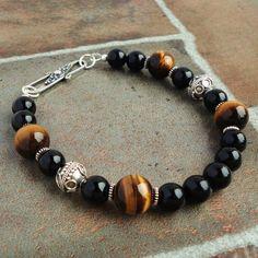 Black Onyx Brown Tiger Eye Mens Bracelet, Bali Sterling Silver, Beaded Bracelet for Men, Guys, Dad, Him, Mens Jewelry