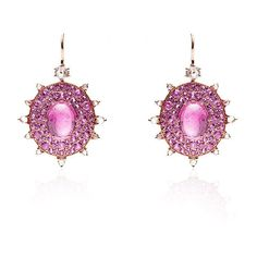 Nam Cho Pink Riviera Flower Ring Earrings (11,975 CAD) ❤ liked on Polyvore featuring jewelry, earrings, pink flower earrings, flower earrings, drusy jewelry, 18 karat gold earrings and pink druzy earrings
