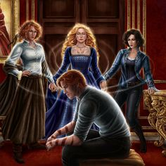 Rand al'Thor is bonded by his three wives - Aviendha, Elayne Trakand & Min Farshaw - from Robert Jordan's Wheel of Time (WoT) by Ariel Burgess (reddera on deviantart)