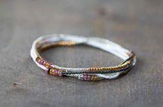Beaded Wrap Bracelet with Tourmaline, Boho Chic Jewelry, Beaded Stretch Bracelet, Delicate Seed Bead & Gemstone Jewelry, Tourmaline Jewelry