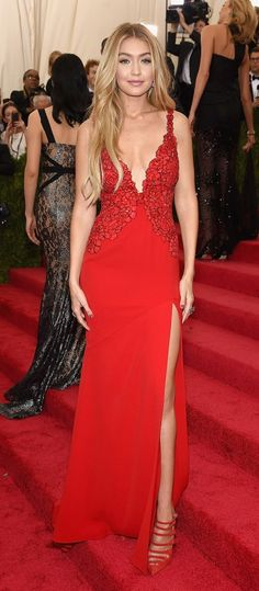 Gigi Hadid is a bombshell in all red DVF at the 2015 Met Gala Awards