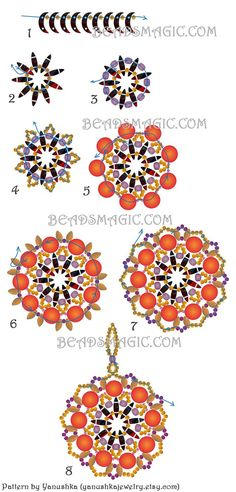 Free pattern for beaded pendant Ethno with crescent beads and superduos   U need: seed beads 11/0 seed beads 15/0 (used on the 5th row) crescent beads czech mates super duo beads faceted czech beads 4