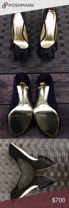 Valentino Garavani authentic Black Heels 36.5 Valentino Garavani 36.5 Beautiful shoe. As you can tell shoe has never been worn. Made in Italy, detailed images enclosed. Black with gold heel Beautiful silk bow and gold detailing. This authentic find is one of a kind. Original box not included.  EXCELLENT FEEDBACK / ASK ANYTHING YOU'D LIKE  * THANK YOU FOR TAKING A LOOK AT MY LISTINGS * 1 day shipping average 💌* New listings updated weekly   * BUNDLED DISCOUNTS AVAILABLE Valentino Garavani…