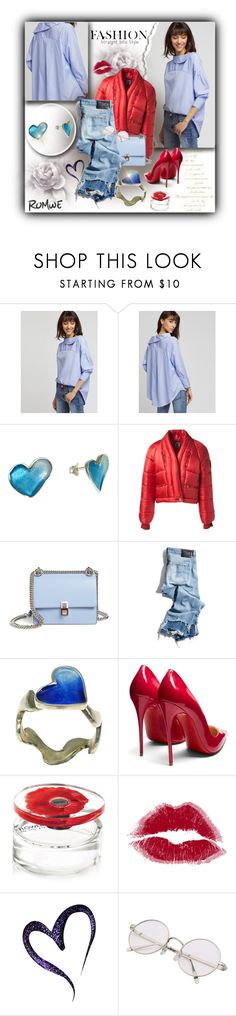 """blue hearts.... red lips!!"" by giampourasjewel ❤ liked on Polyvore featuring Chanel, Fendi, R13, Anello, Christian Louboutin, Kenzo and romwe"