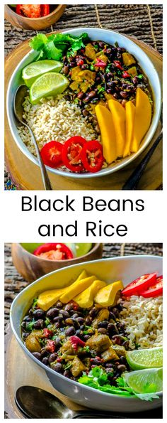 This big bowl of Black Beans and Rice with Plantains is a delicious, quick and easy dinner, that is gluten-free, full of fiber, and constitutes a complete protein for vegans and non-meat eaters. via @mayihavethatrecipe