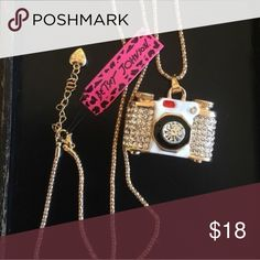 💕FUN💕 Rhinestone Camera Necklace Brand new with tag Betsey Johnson Jewelry Necklaces