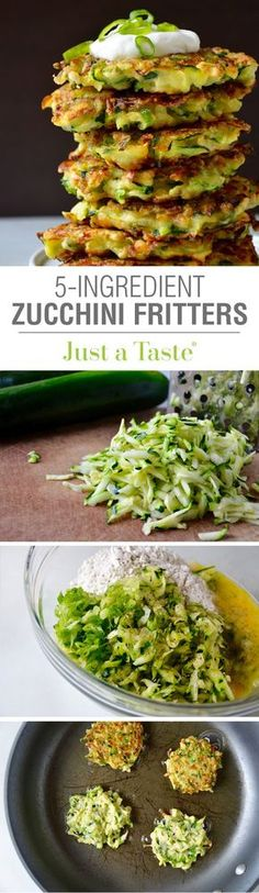 5-Ingredient Zucchini Fritters #recipe via justataste.com Flour, egg, zucchini, scallion. sour cream topping.