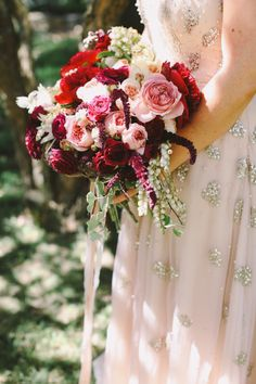 pink white red bridal bouquet