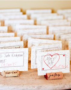cork place cards- not sure when I would possibly need to do assigned seating but this is really cute.  I'm also QUITE certain I would have ample corks regardless of the guest list =)
