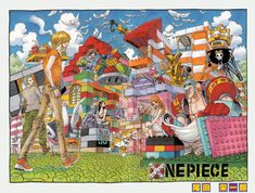 One Piece Color Spread : Chapter 622 (Lego Land! Highlights: Franky's buzzcut, Brooks' Lego Soul King hat, Sanji's whole outfit, Robin being a super efficient builder)