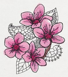 Petals and Lace - Cherry Blossom | Urban Threads: Unique and Awesome Embroidery Designs