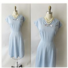Vintage 1950's Baby Blue Garden Party Casual Day Dress