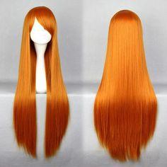 Mcoser送料無料コスプレevaアスカ美しい耐熱合成高品質ロングオレンジ赤いかつら