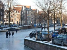 Frozen Canal In Amsterdam / Greetings From Holland