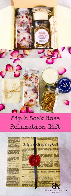 About This Box: Instantly brighten a love one's day with our Sip & Soak Relaxation Gift Box. This beautiful gift is 100% handmade using only natural and organic ingredients. This perfect beautiful rel