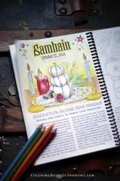 Magical, witchy Autumn spell and ritual pages. Fun additions and ideas for your grimoire. From the Coloring Book of Shadows Planner Coloring Tips, Colouring, Coloring Books, Wiccan, Magick, Pagan, Samhain Ritual, Grimoire Book, Pumpkin Coloring Pages
