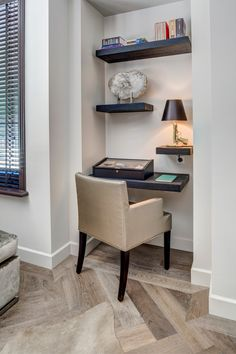 A small workplace at home, conveniently furnished. Designed by the architects and stylists of Kabaz. Home Interior Design, Interior Architecture, Little Houses, Beautiful Interiors, Luxury Living, Home Decor Items, Interior Inspiration, Small Spaces, Sweet Home