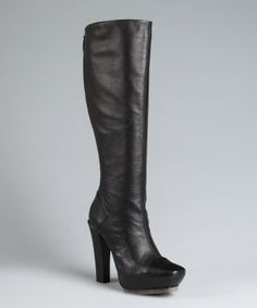 L.A.M.B. : black leather stacked heel 'Navigator' boots : style # 316963801