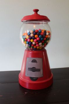 "DIY  Bubble Gum ""Dispenser"" Dish  using terracotta pot, glass bowl, terracotta saucer, knob/handle, paints and OF COURSE  bubble gum!  :)  Thanks agirlandagluegun.com TUTORIAL"