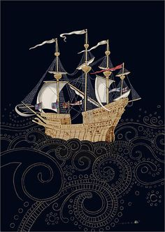 """Galleon"" by Jane Crowther 'Take another sip my love & see what you will see - a fleet of golden galleons upon a crystal sea' (from the Moody Blues' album On the Threshold of a Dream) This lyric popped into my head as soon as I saw this beautiful image."