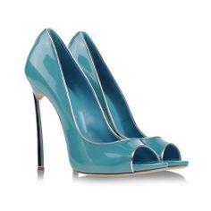 Sky blue Casadei blade open-toed pumps